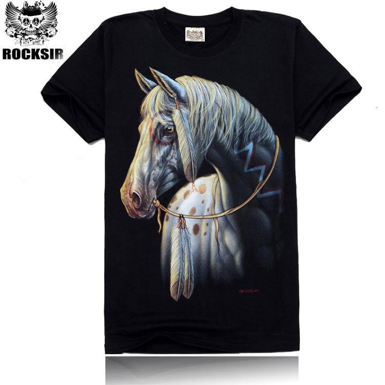 White horse Brand 3D Printing t shirt men,2015 hip hop men tshirt,Men 3D T-Shirt,100% cotton men's camisetas clothes!DW-2(China (Mainland))