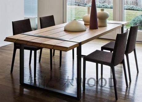 Industrie lourde loft pays d 39 am rique bois table for Table salle a manger loft