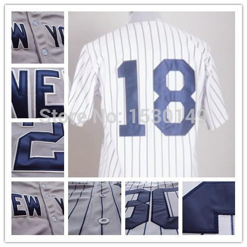 #18 Johnny Damon Jersey Cheap Authentic Sport Jersey Mens New York Baseball Jerseys Embroidery Stitched logos Cool Base(China (Mainland))