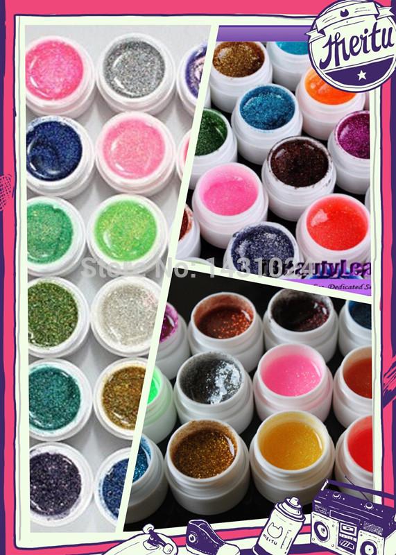 2sets/lot 12 pcs/Lot Colorful Nail Art UV Gel Professional Glitter Powder Nail Gel Nail Polish Nail UV gel set(China (Mainland))