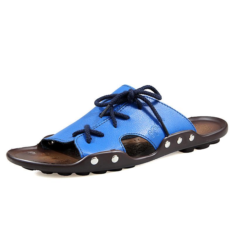 2015 couro genuíno dos homens novos sandálias da moda sandálias homens casual verão romano entope chinelos homens sapatas lisas huaraches(China (Mainland))