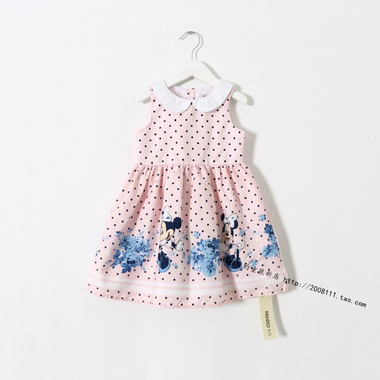 2015Children's cotton vest dress broken beautiful princess dress of the girls7411714(China (Mainland))