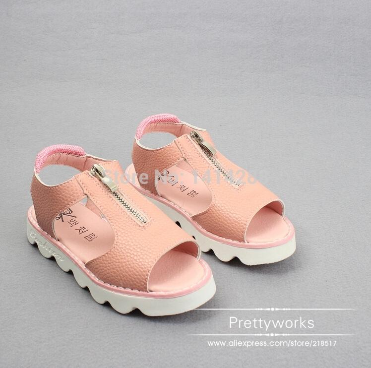 Лето 2 цвета розовый / серебро дети дети сандалии мальчик девочка 4 - 6 - 12 лет студент молния полые сандалии обувь