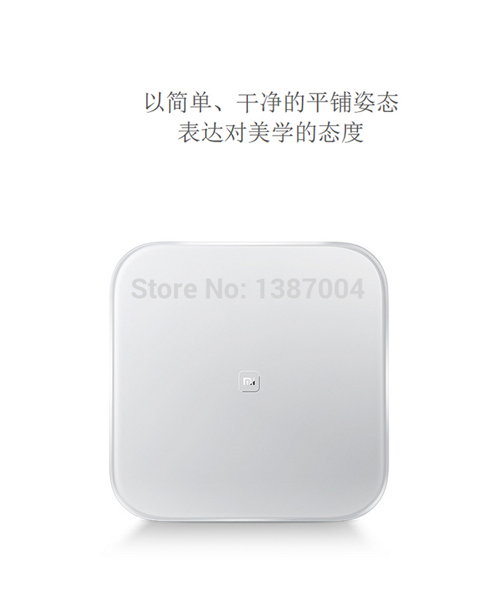 Original xiaomi mi smart weighing scale xiaomi weigh scale support Android 4.4 iOS7.0 above bluetooth 4.0 white color in sock(China (Mainland))