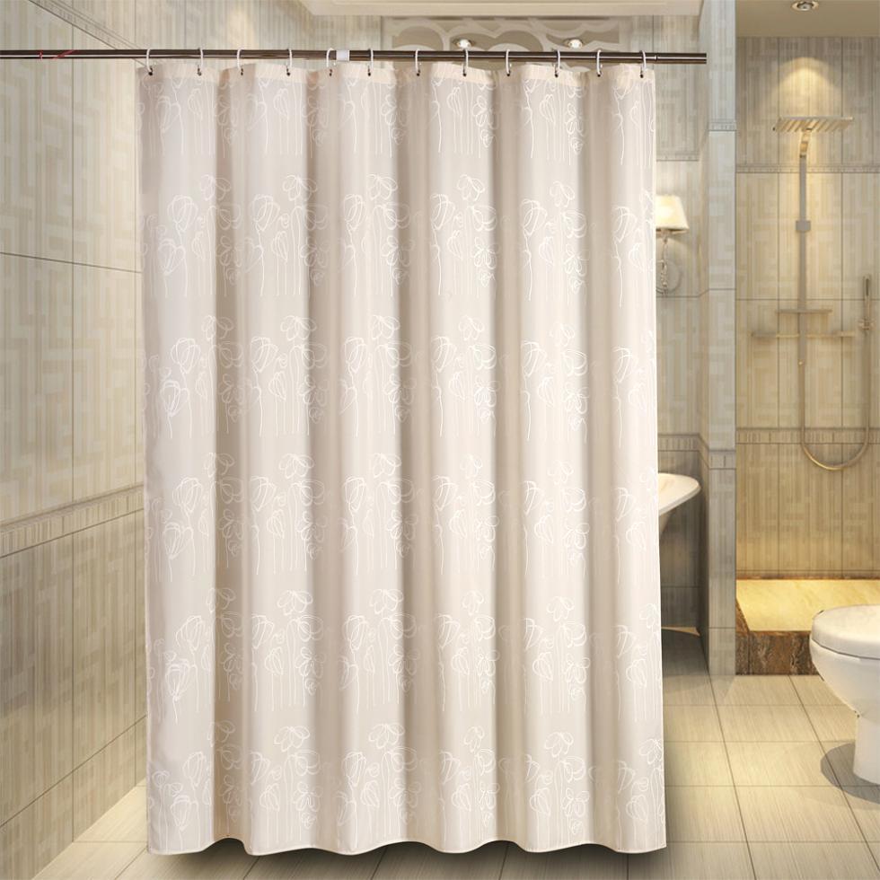 Rideau fleur polyester tissu rideau de douche rideau for Rideau de cuisine ikea