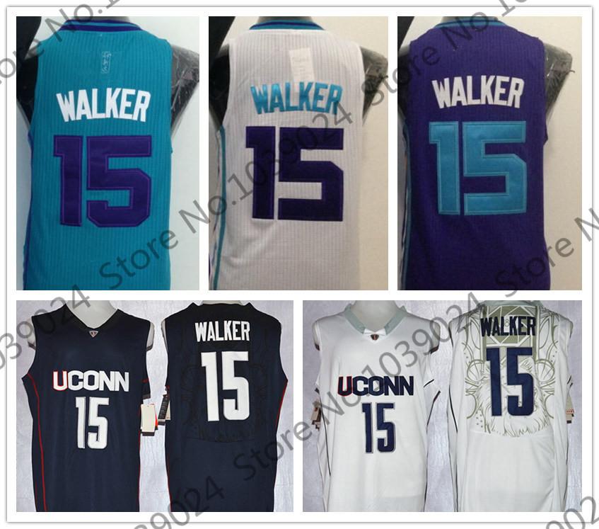 New 15 Kemba Walker College Jersey Navy Blue Uconn Huskies Basketball Jersey White Kemba Walker Jersey Purple Teal Jersey hot(China (Mainland))