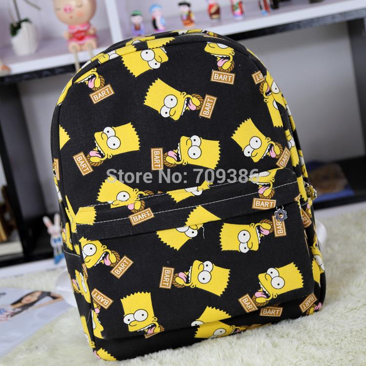 2015 Fashion Simpsons Women Men Canvas Backpacks For Girl Boy Casual multifuncional Travel Bag Mochila Patchwork Cute(China (Mainland))