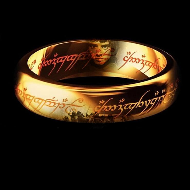 Classic Men Women LOTR 18K Gold GP Wedding Band Ring Pendant Width 6mm Size 6-11 Gift Free shipping(China (Mainland))