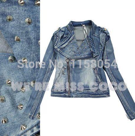 2014 New Fashion Italy IT Cool Luxurious Streety Rivet Turn Down Collar Good Shape Short Denim Jacket Coat for Women Ladies(China (Mainland))