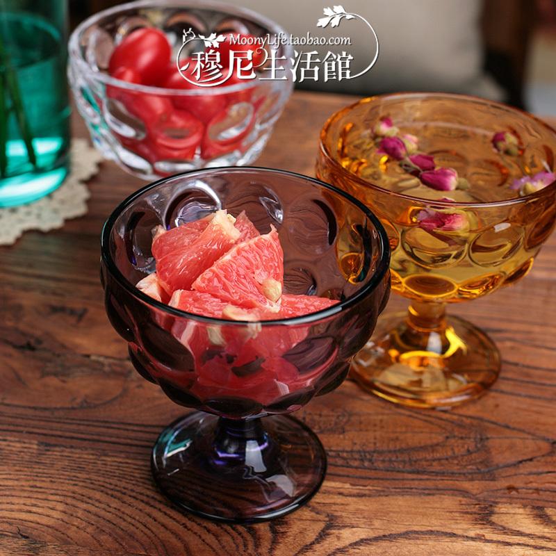 Italian ice cream cup color crystal bubble glass embossed dots creative yogurt dessert bowl salad bowl(China (Mainland))