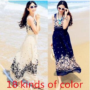 Fashion 2015 Summer Dress women O-Neck sleeveless Chiffon floral Dress bohemian beach dress holiday(China (Mainland))