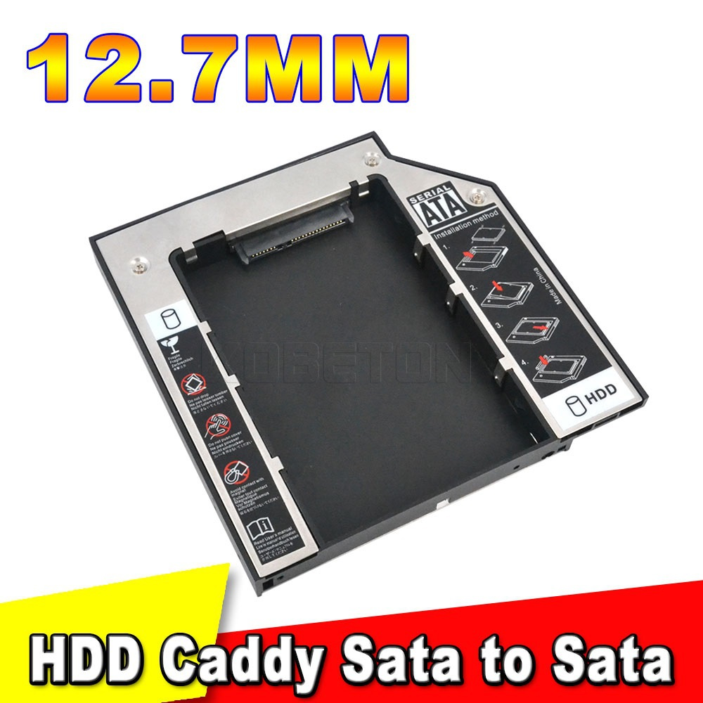 SSD HDD HD Hard Disk Driver Caddy 12.7mm External Case SATA to SATA plastic 2nd for CD DVD DVD-ROM Optical Bay for Laptop(China (Mainland))