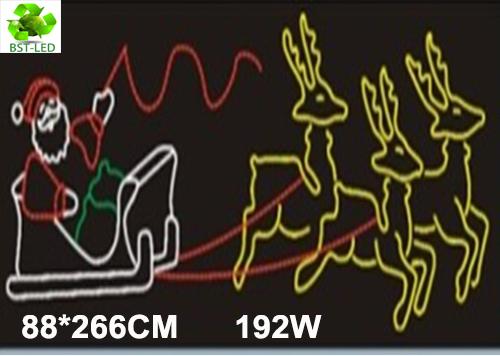 50 x 88*266CM Christmas Motifs, Rope Light Motifs, 192W Led Motifs Christmas Santa Claus with sheeps(China (Mainland))