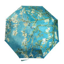 Free Shipping 2015 New Umbrella The Almond Trees With Flower Painting Silver Tape UV Umbrella Folded Umbrella For  Women (China (Mainland))