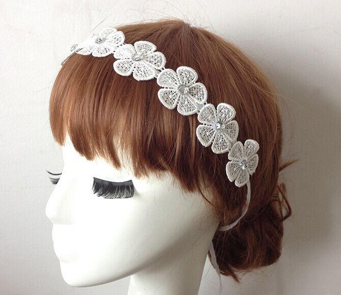 2015 new Wholesale fashion handmade bohemian flower lace chain with gems elastic headband hairbands hair accessories(China (Mainland))