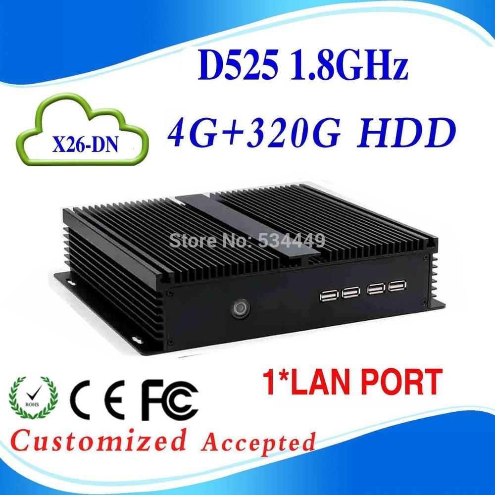 Hot sale D525 X26-DN 4g ram 320G HDD mini pc 12v mini linux server ubuntu mini pc with 1*Lan port, 1*VGA(China (Mainland))