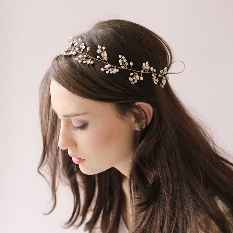 Bridal Hair Accessories Za : Dainty beaded fern leaf hair vine petals blossom