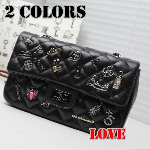 2015 design luxury brand cc women PU leather black channelled bags mini victoria women michaelled handbag shoulder bags(China (Mainland))