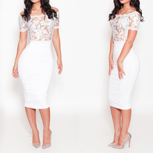 New Fashion Women Floral Embroidered Dress Off Shoulder Sheer Mesh Lace Crochet Trim Sexy Party Club Dress 2015 Summer White(China (Mainland))