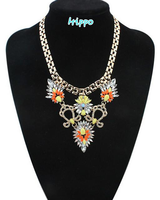 2015 New Arrival Resin Fashion Charm Gem Cute Flowers Necklaces & Pendants Fashion Jewelry Jewelery Woman Gif(China (Mainland))