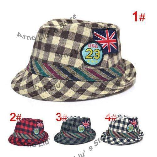 Baby hats Checked Kids Jazz Cap, Baby Fedora Cap, Baby Spring Summer Top Hat, Kids Sun Cap Topee(China (Mainland))