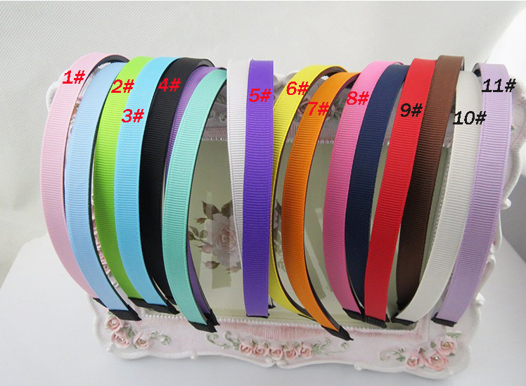 10mm Solid color DIY Grosgrain ribbon covered hairbands cute girls headbands kids hair accessries high quality(China (Mainland))