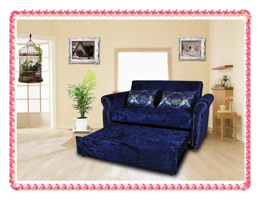 Blue flocking foldable sofa bed three seat hot selling(China (Mainland))