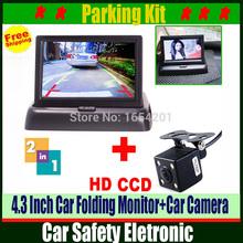Авто система помощи при парковке 2 в 1 автомобильная камера заднего вида с монитором, ночного видения автомобиля парковочная камера с монитором для безопасности