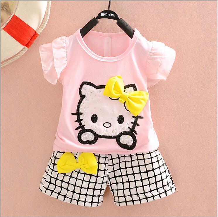 Hello Kitty Girls Clothing sets Toddler Girls Cartoon Cot t thirt and Shorts sets Kids shorts sets summer Outfi 2015(China (Mainland))