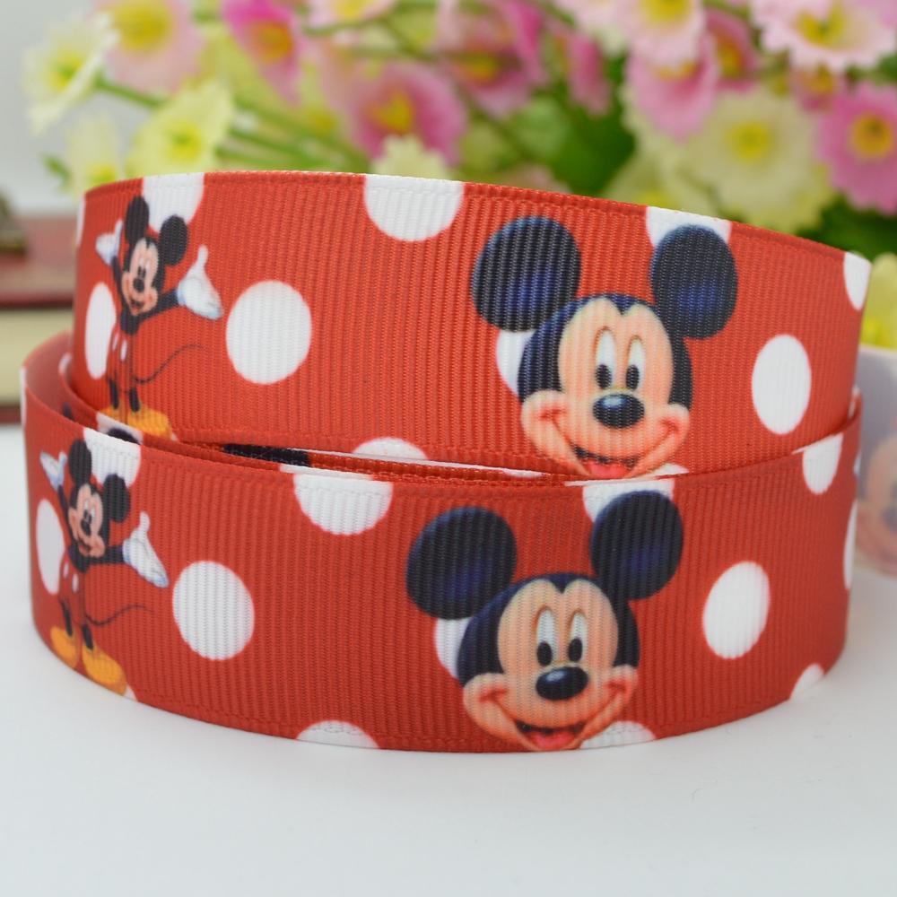 "Mickey cartoon Mr silk belt webbing DIY hair accessories 22mm print grosgrain ribbon 7/8"" christmas handmade(China (Mainland))"