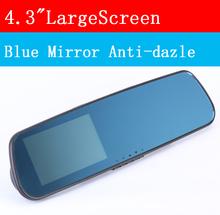"car camera rearview mirror 4.3"" Blue auto dvrs cars dvr parking recorder video registrator camcorder full hd 1080p night vision(China (Mainland))"