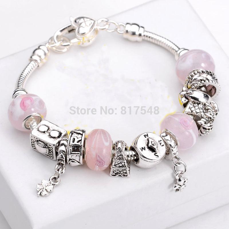 6 colors choose 925 Sterling Silver Bracelets & Bangles for women, Fashion jewelry Charm Beads bracelet Fits Pandora Bracelets(China (Mainland))