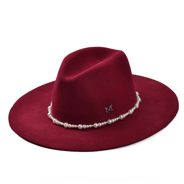Fan Bingbing paragraph pearl wool fedora Miss Han Ban peppers jazz string of pearls cashmere hat(China (Mainland))