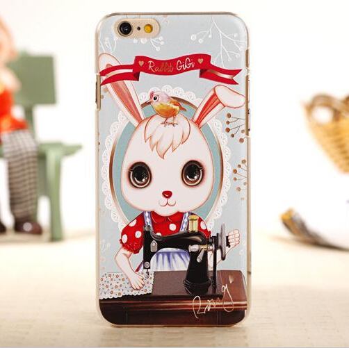 Cute 3D Emboss Tailor Rabbit Case Cover For Apple iPhone 6 Case Cartoon 6 Series Hard Back Cover For Phone(China (Mainland))