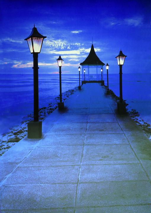 10x10FT Blue Sky Winter Sea Night Road Light JettyThatched Pavilion Custom Photography Backdrops Studio Background Vinyl 3x3m(China (Mainland))