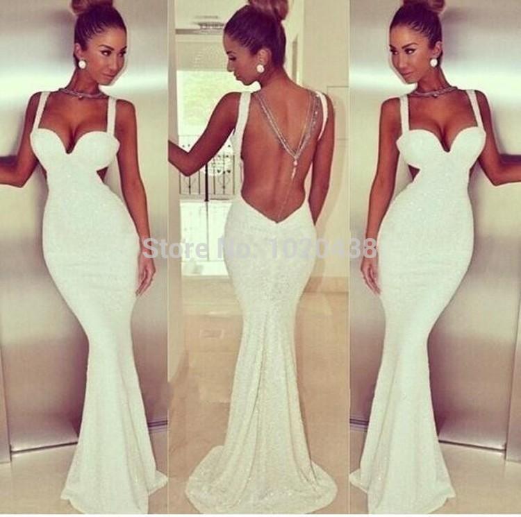 Magnifique Sexy chérie bretelles Spaghetti longue sirène robes de bal 2015 noir blanc à paillettes dentelle Backless parti robe robes(China (Mainland))