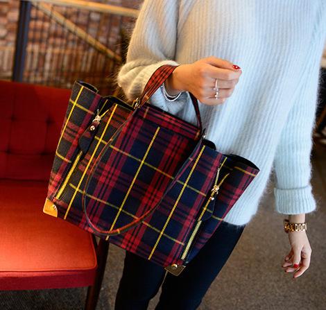 Women Denim Bucket Bags, Retro Plaid Metal Frame Handbag, RU Hot Selling Girls Red Tote, High Quality Designer Bag A30(China (Mainland))