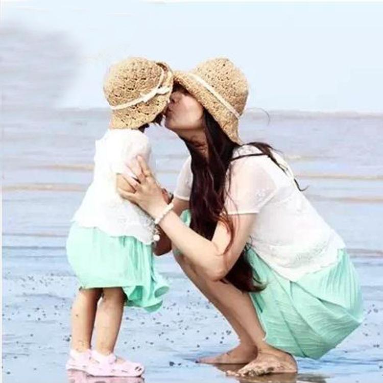 Korean version of the new children's summer children's paper straw hat parent-child cap sun hat visor Korean children(China (Mainland))