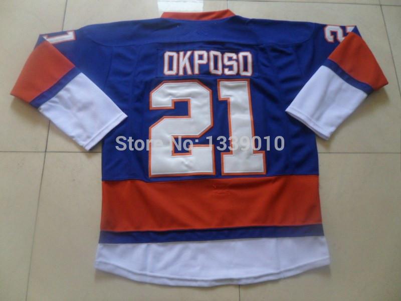 #21 Kyle Okposo Jersey Dark Blue Hockey Jerseys for Men High Quality Sports Jerseys Cheap Ice Hockey Uniforms Allow Mix Order(China (Mainland))
