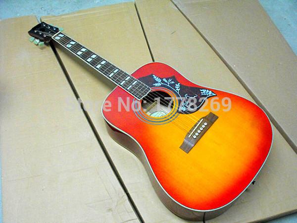 Chibson hummingbird acoustic guitar GB Hummingbird acoustic guitar in cherry-burst finish in stock(China (Mainland))