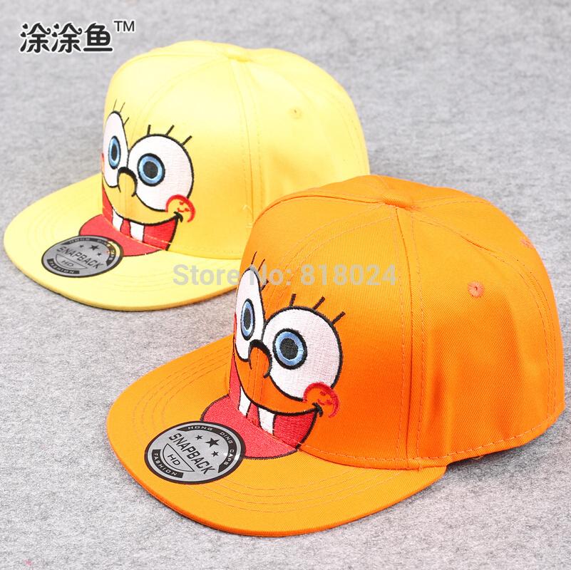 Wholesale cartoon kids snapback hats, spongebob, embroidery adjustable baseball caps for children 3-8 yrs(China (Mainland))