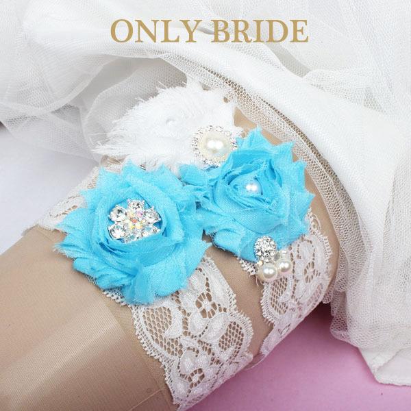 Something Blue Wedding Garter Set Chic Flower Vintage Lace Bridal Garter(China (Mainland))