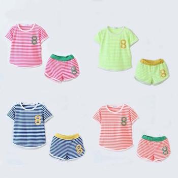 2015 мода дети спортивный костюм футболку + шорты 2 шт. детские мальчики девочки комплект одежды детей личность летние комплекты