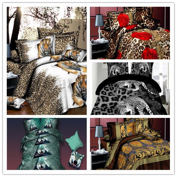 3d Leopard Print Bedding Luxury Pastel Tiger Duvet Cover Cotton New Pastel Lion Comforter Set Vintage 3d Leopard Print King(China (Mainland))