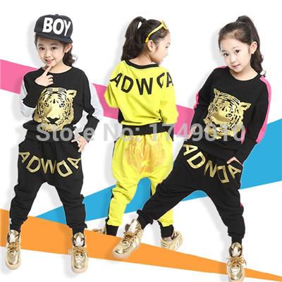 2015 Tiger Print Girls' Clothing Set Spring Autumn New Kids Sports Suit Long Sleeve Top & Harem Pants Sets kx043(China (Mainland))
