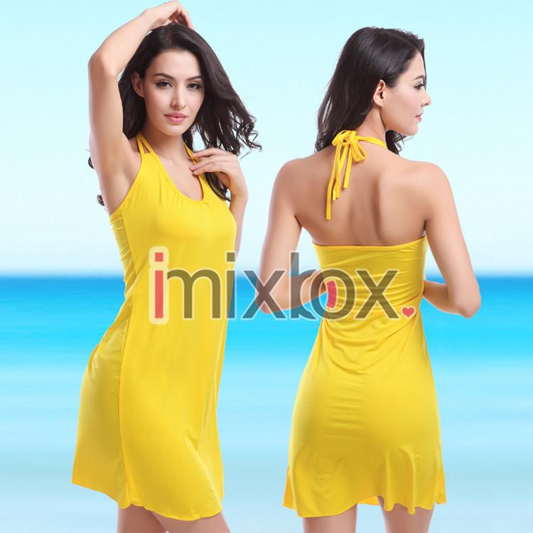 Женщин купальник бикини прикрыть глубокий v спинки платье конфеты цвет sml XL