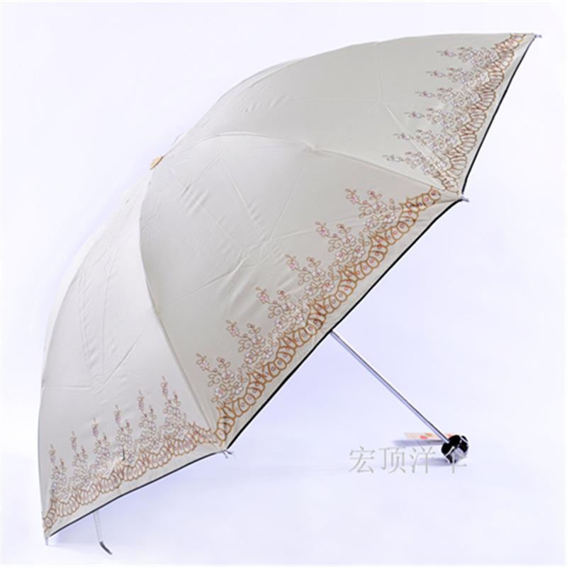 517 Korean creative UV folding umbrella creative umbrella manufacturers supply custom color offset printing flower(China (Mainland))