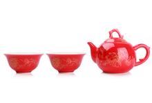 Chinese Kung Fu Tea Set,China red porcelain,Bone China TeaPot Tea Cup,3-pcs Set Coffee Tea Sets,High Quality
