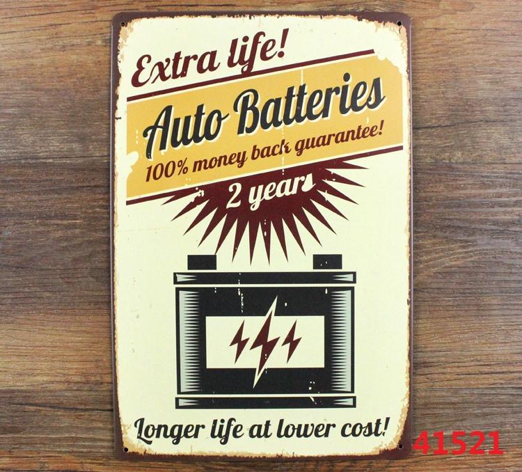 Auto Batteries 20x30cm Tin Plaque Gallery Tin Paintings Advertising Shop Bar Wall Decor Retro Tin Poster Metal Tin Signs(China (Mainland))