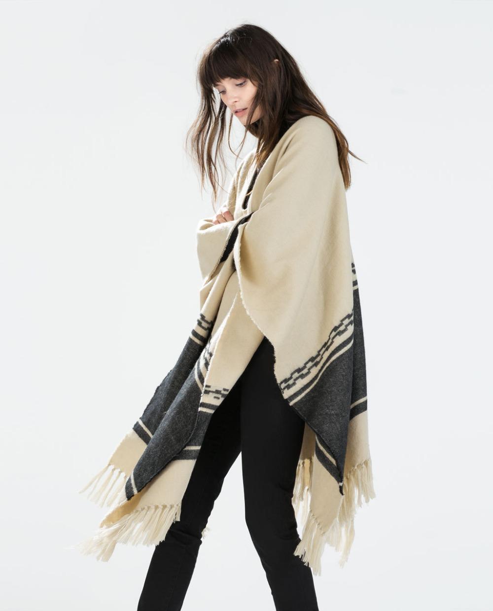 2014 New fashion brand za cashmere poncho with tassel designer blanket scarf high quality women winter warm shawl wraps HOT SELL(China (Mainland))